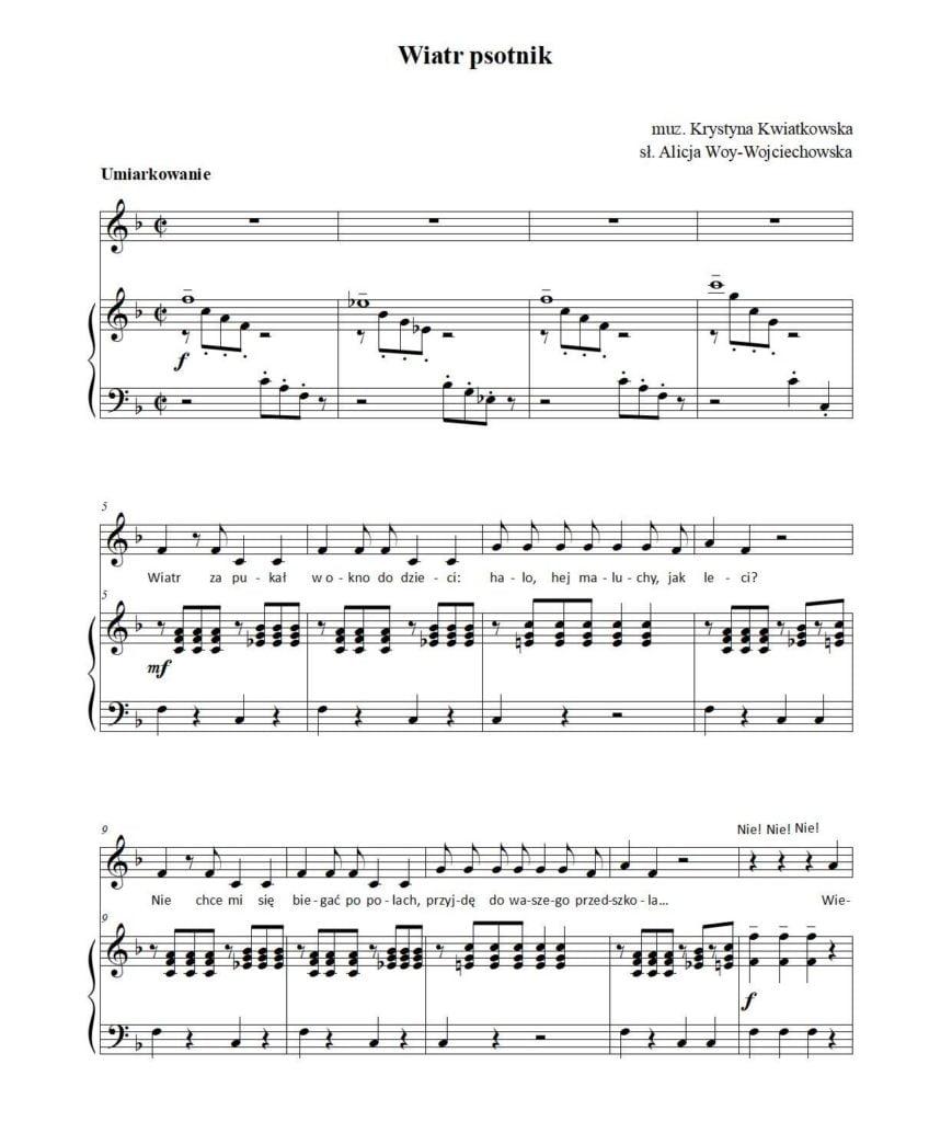 Wiatr psotnik - piosenka dla dzieci - nuty