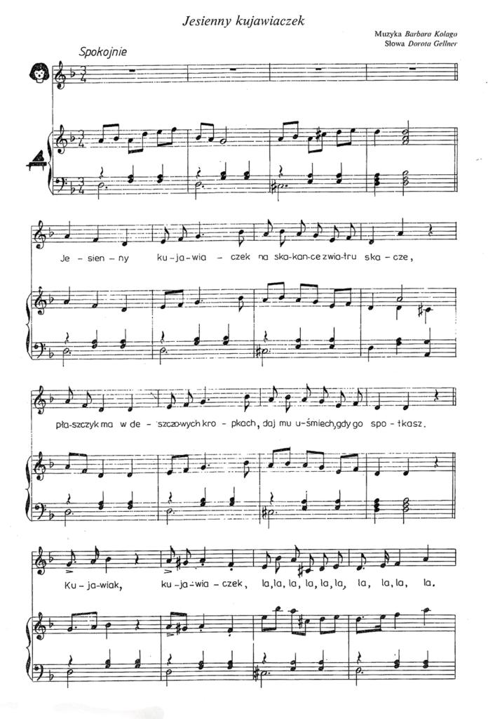 jesienny kujawiaczek - nuty piosenki dla dzieci