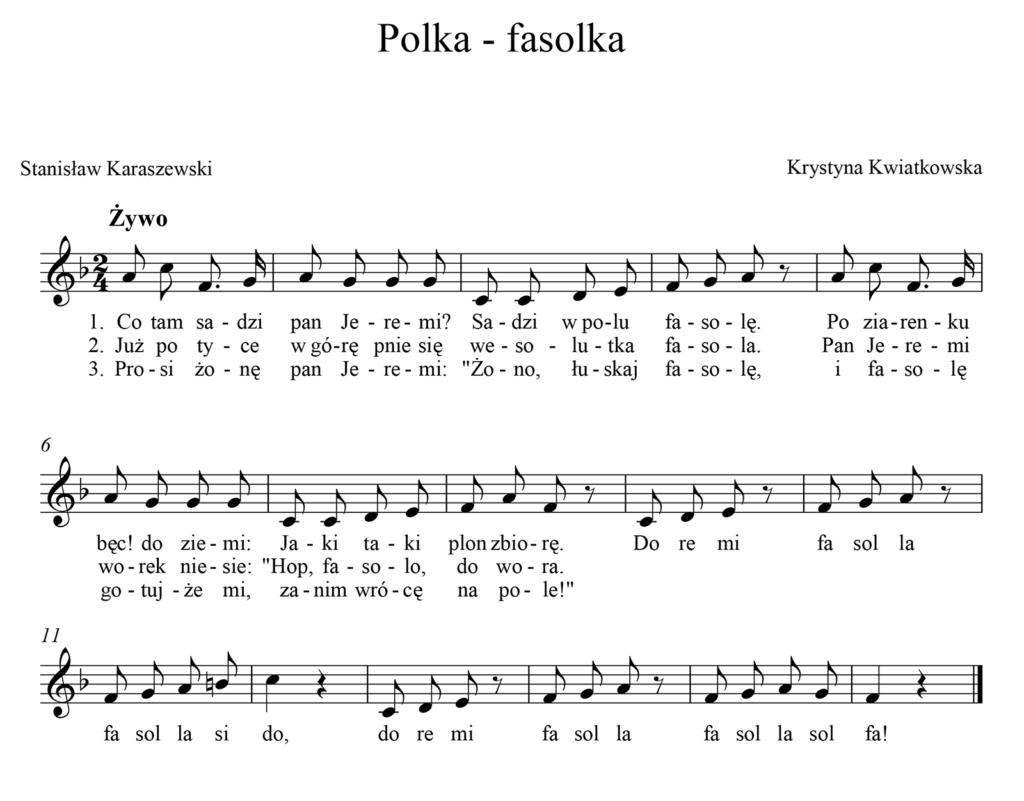 nuty polka fasolka piosenka dla dzieci